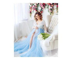 Голубое будуарное платье