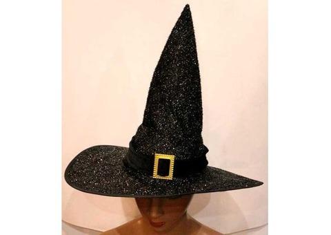 Колпак ведьмы черный блестящий