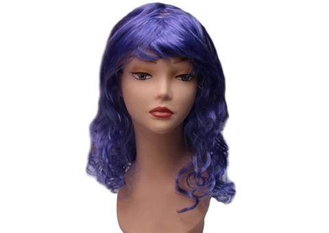 Парик с кудряшками фиолетовый