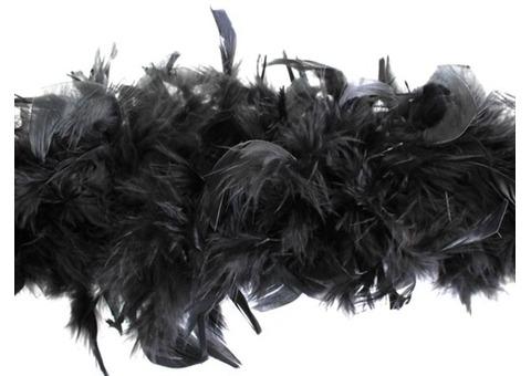 Боа из перьев черное