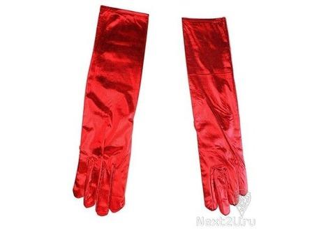 Перчатки атласные красные