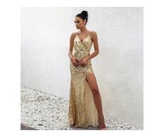 платье с паетками в пол