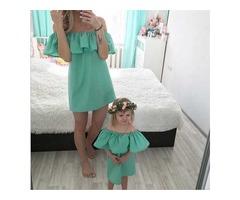 зеленые платья мама дочка