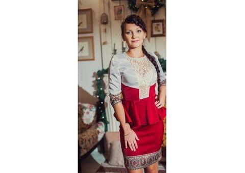 Платье красное, в русском стиле