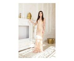 Вечернее золотое платье-русалка