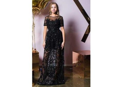 Платье макси с узором из пайеток