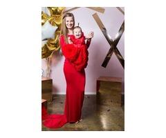 Ярко-красный комплект мама+дочка