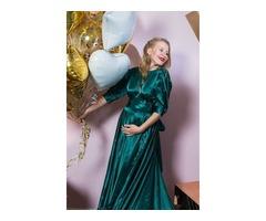 Изумрудное платье для беременной