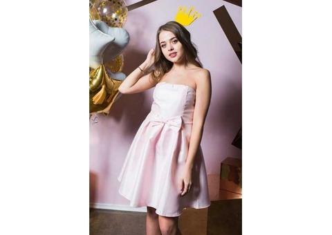Платье мини с бантиком