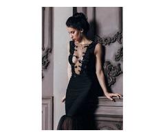 Чёрное облегающее платье